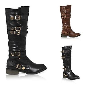 WOMENS-LADIES-KNEE-HIGH-CASUAL-WINTER-CALF-KNEE-HIGH-RIDING-BUCKLES-BOOTS-SHOES