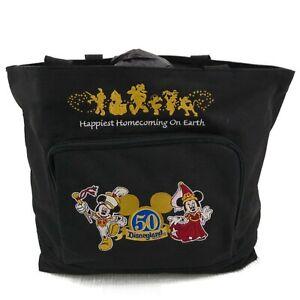 Disney Disneyland Resort 50th Anniversary Black Tote Bag Mickey Minnie Embroider