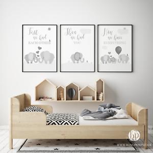 Grey Elephant Nursery Wall Art