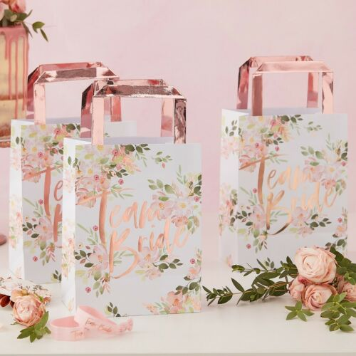 5 x TEAM BRIDE FLORAL HEN PARTY BAGS HEN PARTY ACCESSORIES BRIDE TO BE FAVOURS
