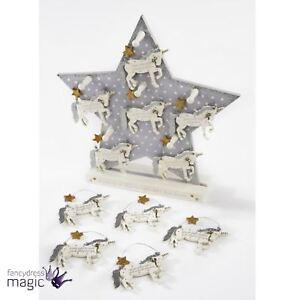 navidad-madera-con-Purpurina-unicornio-ESTRELLA-frase-Arbol-regalo-Tag-Percha