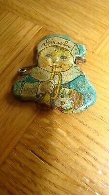 Gerade Antike Puppenbrosche Blech