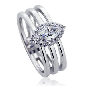 11mm-Platinum-Plated-Silver-0-5ct-Marquise-CZ-Halo-Wedding-Engagement-Ring