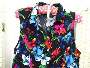 VINTAGE-viscose-black-floral-boho-festival-40s-style-fit-amp-flare-tea-dress-S-M