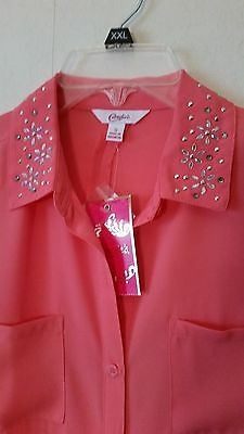 Jr Blouse by Candies, Coral w/Rhinestone Detail Collar, size S