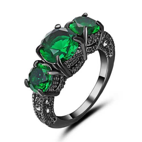 Vintage Round Cut Green Emerald Wedding Ring 18k Black Gold Filled Size 6