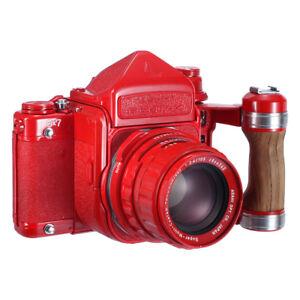 PENTAX-67-6X7-M-L-U-TTL-FINDER-105mm-F2-4-GRIP-REPAINTED-RED-MINT-90D-W