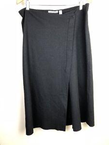Country-Road-Black-Wool-Blend-Wrap-Midi-Skirt-Large