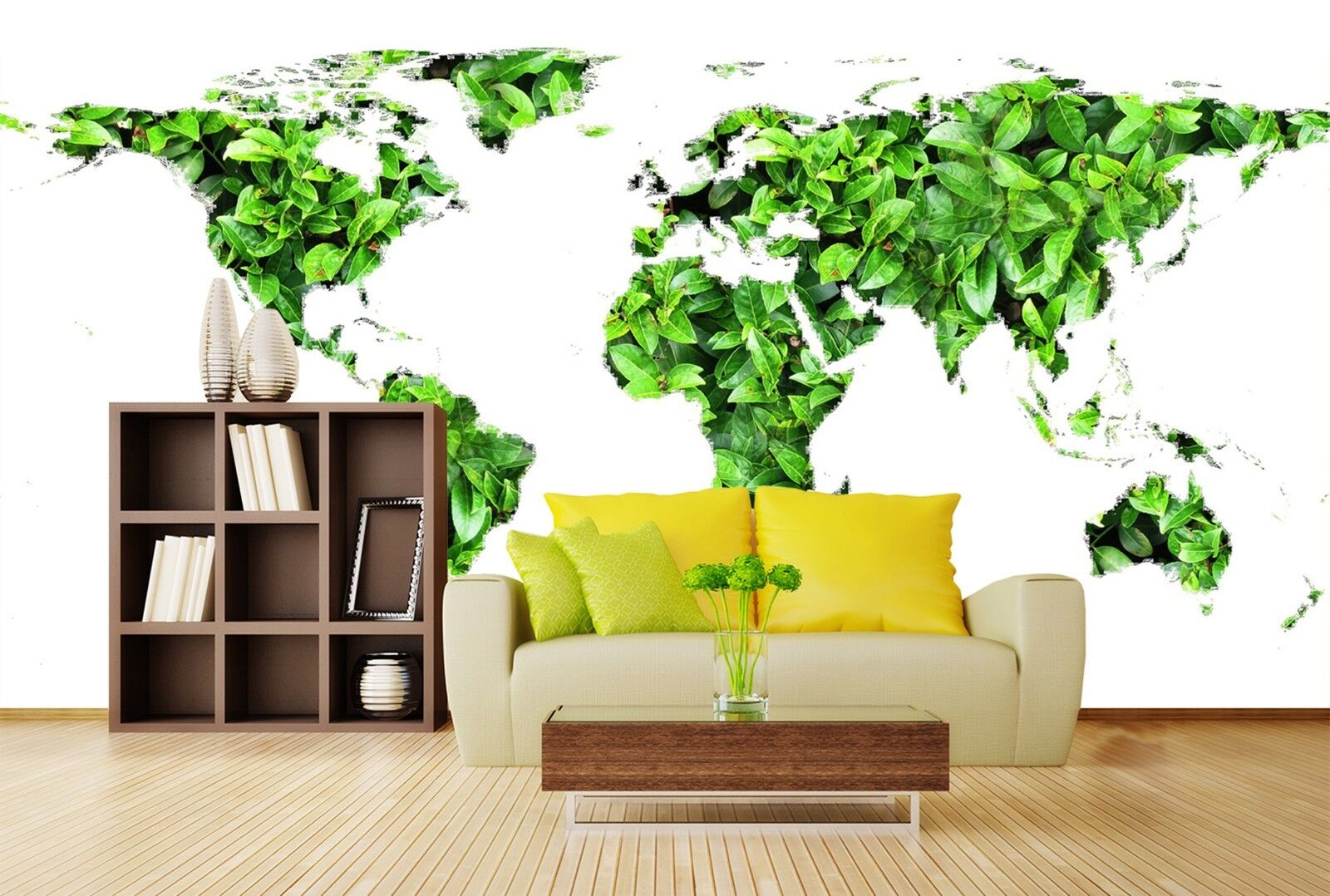 3D Grüne Blattkarte 7057 Tapete Wandgemälde Tapeten Bild Familie DE Lemon
