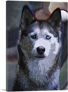 ARTCANVAS Siberian Husky Dog Breed Colorful Polka Dots Canvas Art Print