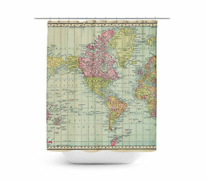 Antique World Map 1913 Shower Curtain - Vinyl Anti-Bacterial | eBay