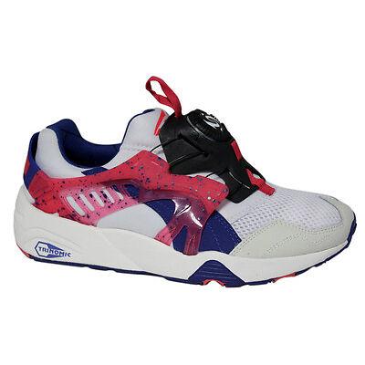 Puma Trinomic Disc Blaze White Pink Blue Mens Trainers Slip On 358135 01 M10