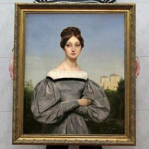 Hand painted Old Master-Art Antique portrait oil Painting noblewoman on canvas