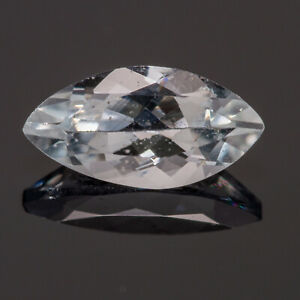 Aquamarine 0.46ct. A natural light greenish blue, with an unusual marquise cut.