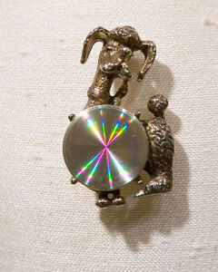 Jewelarama-Refraction-Poodle-Pin-w-Holographic-Center-Vintage-Poodle-Pin-Alloy
