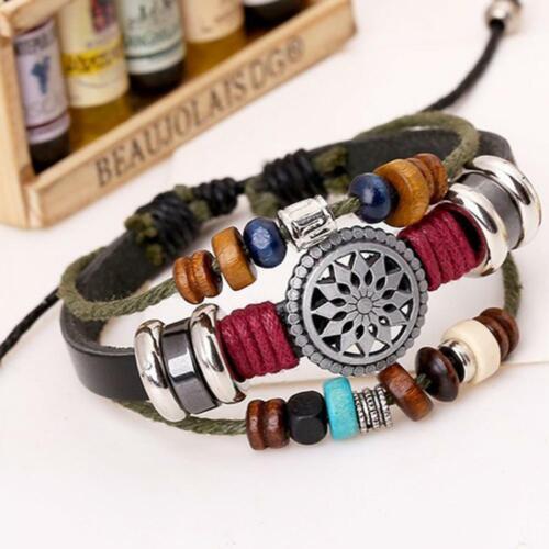 vintage unisexe personnalité billes de bois bracelet le cuir le tournesol