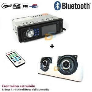 AUTORADIO-STEREO-BLUETOOTH-USB-SD-AUX-FRONTALINO-ESTRAIBILE-CASSE-250WATT-10CM