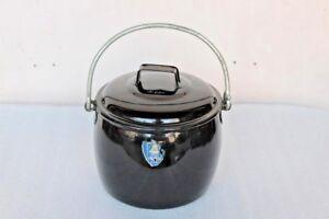 Black-Cooking-Pot-Vintage-Old-Enamel-Kitchenware-Collectible-BH-89
