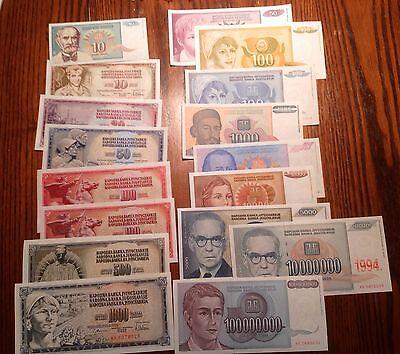 1965-1994 all UNC Yugoslavia 17 note set