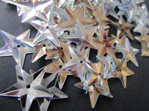 500 STAR Applikation Aufnäher Silber Pailletten elegante Borte Nähen 1,5cm