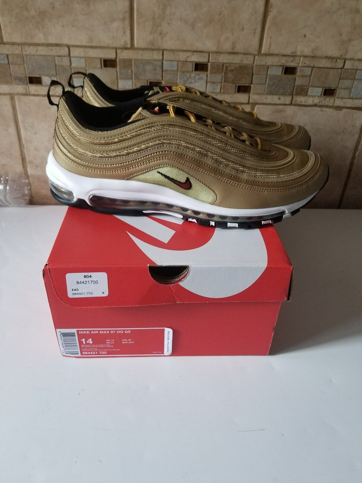 Nike Air Max 97 OG QS Metallic gold mens size 14  884421 700 Nike off WHITE
