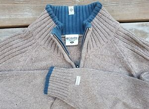 COLUMBIA-Knit-1-4-Zip-Sweater-Pullover-Jumper-Brown-Sz-Medium