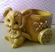 Cute Vintage Bunny Rabbit Planter Ornament Kitsch Retro Figurine Statue Ceramic
