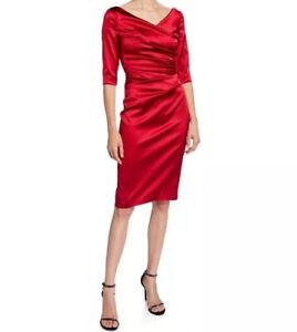 NWT-Talbot-Runhof-Stretch-Satin-V-Neck-Red-Cocktail-Dress-Size-2-1495