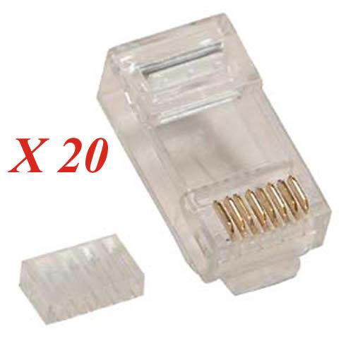 Lot 20 CAT 6 Plugs 2 parts,CAT 6 Module RJ45 Plug for solid CAT6 Cable CAT6 end