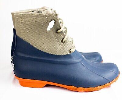 NEW* Sperry Rubber Rain Boots Tan/Navy