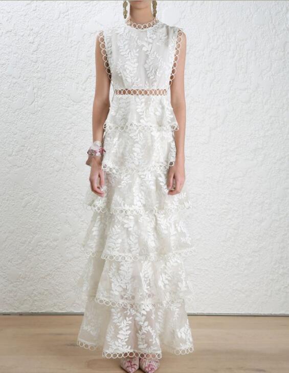 Womens Dress Maxi Dress Designer Summer Sleeveless Runway Lace Casual Occident