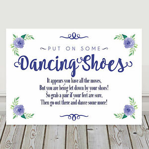 Navy Blue Dancing Shoes Tired Feet Sign Poem Wedding And
