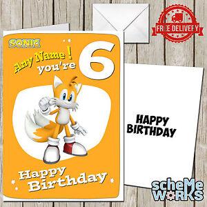 Detalles De Tarjeta De Felicitación De Cumpleaños Colas Personalizado Sonic Millas Sega Nudillos Eggman Ca153 Ver Título Original