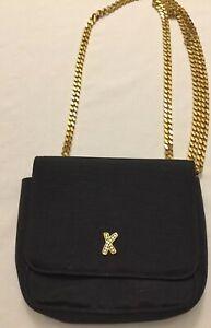 Paloma-Picasso-Black-Cloth-Handbag-Long-Gold-Chain-Small-Purse-Crossbody-C-Detai
