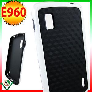 PELLICOLA-Custodia-TPU-BEEHIVE-per-LG-E960-Google-Nexus-4-BIANCO-NERO-flessibile