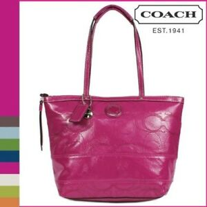 Image Is Loading Nwt Coach 19198 Signature Stripe Sched Patent Leather
