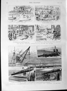Old-Antique-Print-1889-Canon-Gun-Victoria-Ship-Chatham-British-New-Guinea-19th