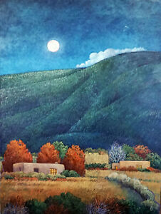 Donna-Clair-Art-HUNTER-039-S-MOON-40-034-x30-034-Orig-Oil-Painting