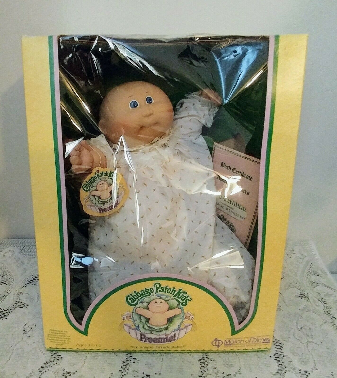 CABBAGE PATCH Kinder PREEMIE Girl Doll Marcie 1983 Coleco In Orig Box Jahr