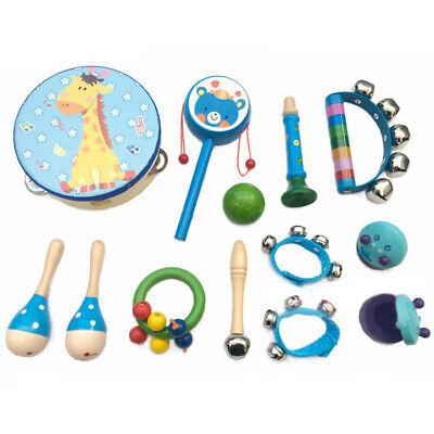 13x Kinder Musikinstrumente Holz Percussion Set Schlagzeug Rhythmus Spielzeug