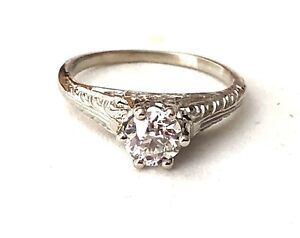 SOLID-14K-WHITE-GOLD-DIAMOND-SOLITAIRE-LADIES-ENGAGEMENT-RING-VALUED-3-877-00