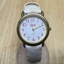 Vintage 1989 Guess Men Gold Tone White Leather Analog Quartz Watch Hour~New Batt