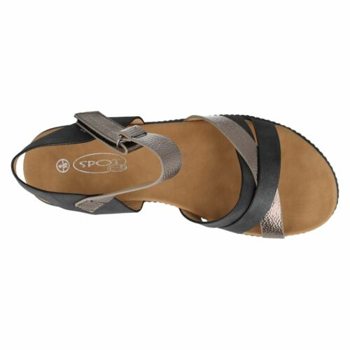 J/&K R17A Spot On F1R0816 Ladies Platform Sandals Black Or Tan
