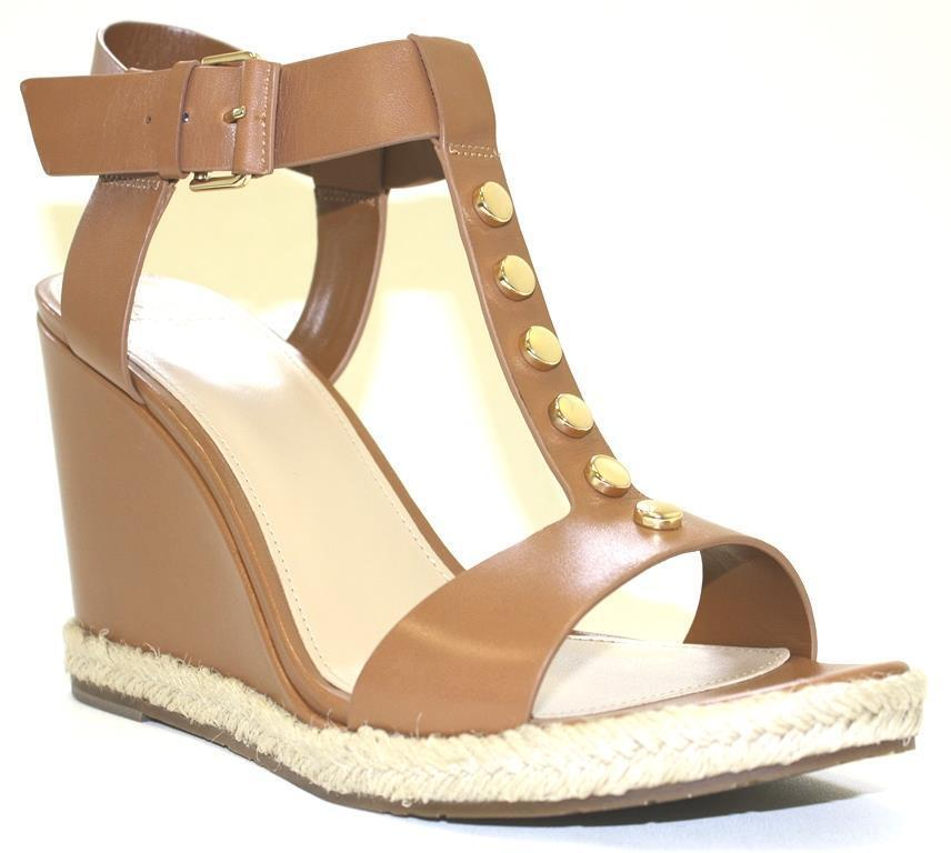 Women's Shoes Marc Fisher KELLIE Studded T-Strap Wedge T-Strap Studded Sandals Leather MD. BROWN f0fb16