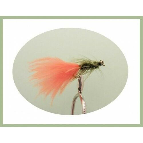 6 Pack Olive Orange Tail Size 10 Fishing flies Humongous Trout Flies Lures