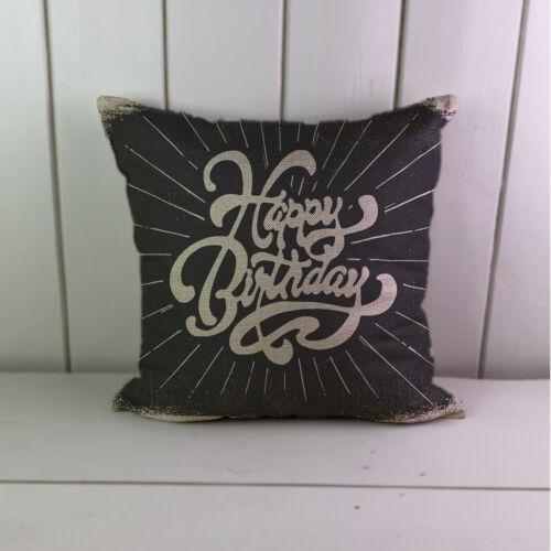 Happy Birthday Linen Cushions Cover Sofa Throw Pillow Case Home