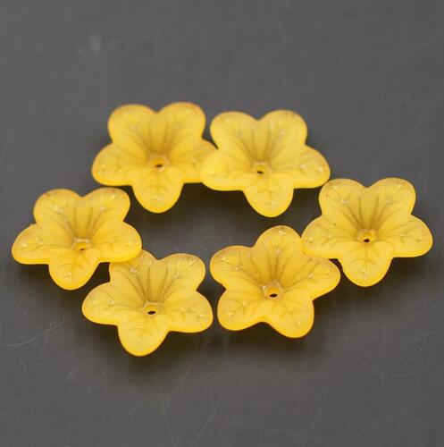 100pcs Acrylic Frosted flowers Spacer Beads Caps For Jewelry Accessories 18mm
