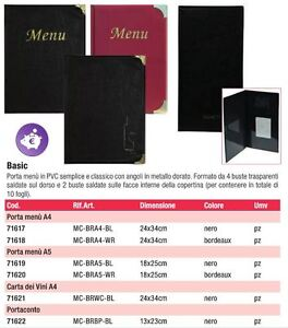 PORTA-MENU-039-BASIC-SECURIT-VARI-COLORI-A4-A5-CARTA-VINI-PORTACONTO-PVC-ristorante