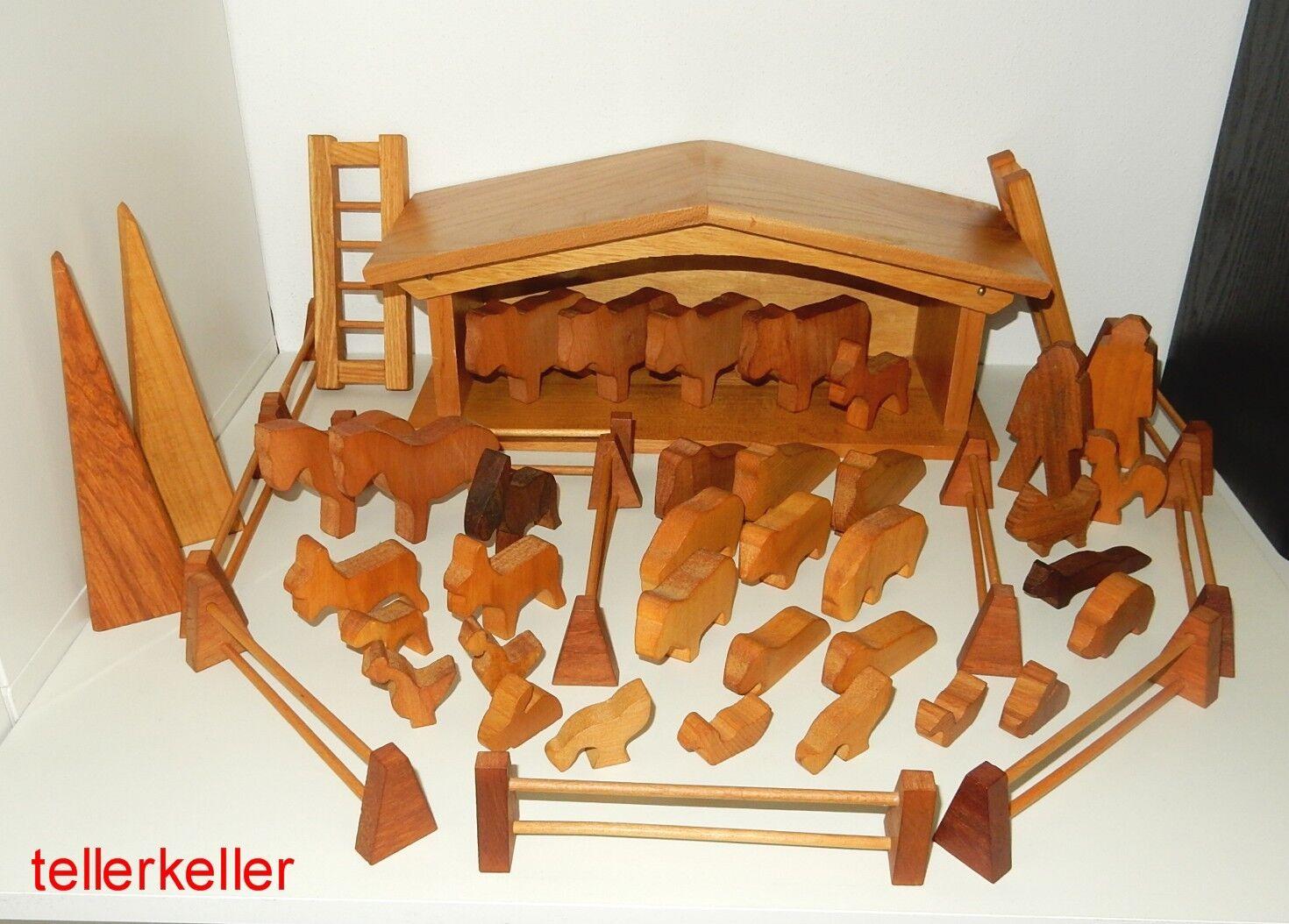 Loquai Bauernhof Holzspielzeug Gebäude Tiere Zaun Bauer Spiel gut Erzgebirge