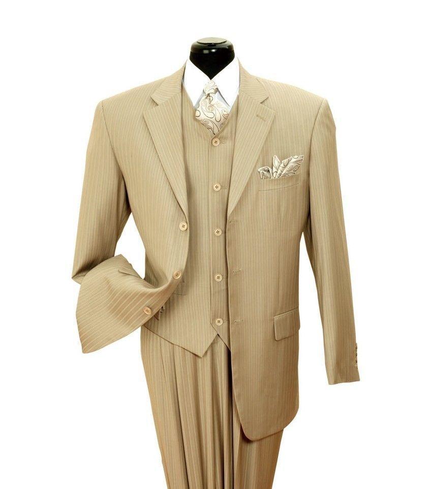 Mens fancy wool feel suit 3 pc w Vest 3 button striped designTan Stripe V4
